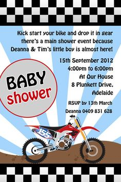dirtbike+babyshower+invitations | b075 motorbike baby shower invitation printed baby shower invitations ...