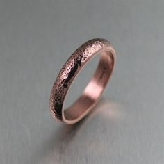 Texturized Copper Band Ring - 7th Wedding Anniversary Gifts by http://www.handmadecopperjewelry.com
