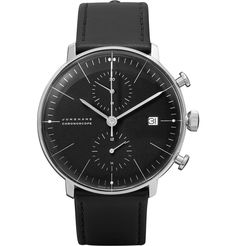 Junghans - Max Bill Stainless Steel and Leather Chronoscope Watch |MR PORTER