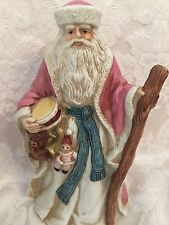 Father Christmas Santa Christmas Figurine Midwest Of Cannon Falls Music Box Pink