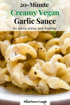 This creamy vegan garlic sauce recipe for pasta or pizza is completely dairy-free and packed with protein! It's also nut-free (NO cashews!), gluten-free, and includes an oil-free option. It's easy to make and takes 20 minutes: Just roast your garlic, blend the ingredients, and pour over pasta, pizza, or garlic bread! #vegangarlicsauce #veganpastarecipes #veganpizzarecipes #silkentofu #tofurecipes Best Vegan Recipes, Tofu Recipes, Pasta Recipes, Vegan Lunches, Vegan Snacks, Vegan Roast, Garlic Sauce, Vegan Dishes, How To Cook Pasta
