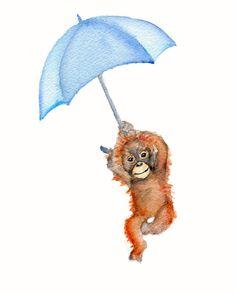 Monkey with Umbrella Nursery print 8 X 10 by Marysflowergarden, $12.00