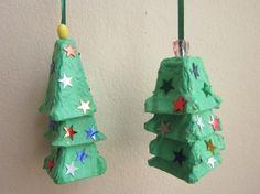 Toddler - Homemade Christmas Ornament w/ Egg Cartons