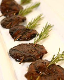 Grilled Shitake mushrooms on Rosemary skewers.