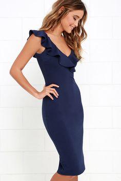 Ready to Ruffle Navy Blue Midi Dress at Lulus.com!