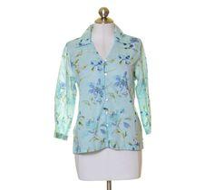 Crazy Horse Light Blue Floral Print Light Cotton Button Front Shirt Size S #CrazyHorse #ButtonDownShirt #Casual