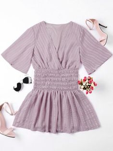 SHARE & Get it FREE | Smocked Surplice Mini Dress - Nude Pink SFor Fashion Lovers only:80,000+ Items • New Arrivals Daily Join Zaful: Get YOUR $50 NOW!
