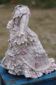 Beautiful antique fashion doll dress and skirt, soutache on cotton
