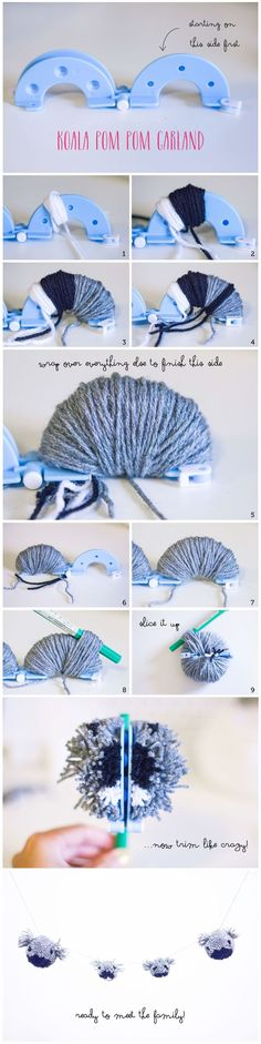 Koala Family Pom Pom Garland Tutorial, DIY. Fun Nursery and kids room decorations.