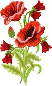 Poppies free embroidery design. Machine embroidery design. www.embroideres.com