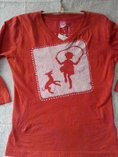 Women's small 3/4 sleeve v-neck Jump rope hopscotch Batik by HooeyBatiks on Etsy