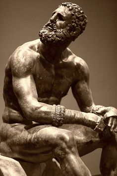 Seated Boxer, from Rome, IT, ca. 100-50 BCE. bronze. THIS IS AN ORIGINAL BRONZE!!! Perfect example of Hellenistic art; Rendering old subjects in novel ways. The man looks defeated with hunched shoulders, cauliflower ears, and scratched nose and face.