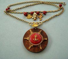 Ship Ahoy  Nautical Theme Pendant Necklace by joyceshafer on Etsy