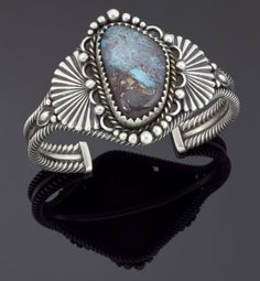 Sterling Silver and Smoky Bisbee Turquoise Cuff by Clendon Pete