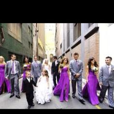 Grey suits look good with purple