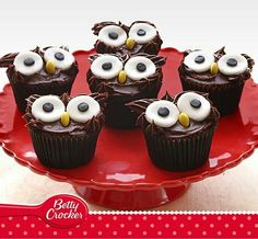 Make fun Owl Cupcakes with the help of this easy recipe from Betty Crocker™. These cute wide-eyed owl chocolate cupcakes will be a hit at Halloween! Chocolate Fudge Icing, Chocolate Buttons, Dark Chocolate Chips, Chocolate Art, Cupcake Mix, Owl Cupcakes, Paper Cupcake, Cupcakes Design, Christmas Treats