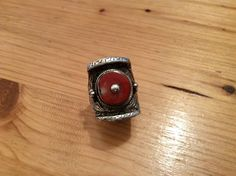 """A very nice traditional """"saddle"""" ring in silver and coral ... Men and women wear that kind of ring in the hair and on fingers in Tibet...For sale in My Gallery at 28, Galerie du Roi at 1000 Brussels and soon on my website www.halter- ethnic.com under the item """"My Lucky Finds"""""""