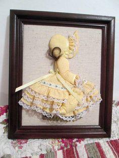 """vintage Handmade  """"Sun Bonnet Sue"""" framed 3-D quilt style picclick.com"""