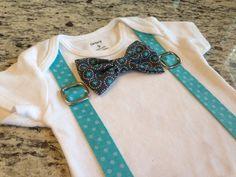 Bowtie Suspenders Bodysuit in Aqua Stars on Etsy, $19.00