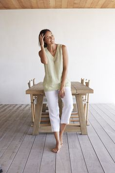 Pure Jill crinkled linen top