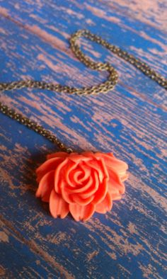 Coral Resin Rose Necklace - Vintage Inspired Pendant Necklace - Cabochon Necklace - Resin Jewelry