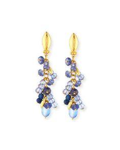 P8430 Gurhan Blue Rain Flurries Cluster Drop Earrings