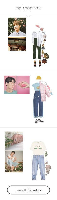 """""""my kpop sets"""" by eggtartt ❤ liked on Polyvore featuring seventeen, EXO, bts, BlackPink, nct, DK, Vetements, Gucci, Chanel and LIST"""