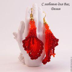 Купить Комплект украшений Сердце пламени - ярко-красный, огонь, орхидея, орхидея из бисера