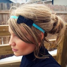 mini beaded bow headband.