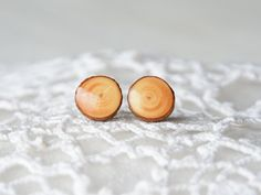 Tiny natural wood studs with bark and resin made by MyPieceOfWood, $16.00