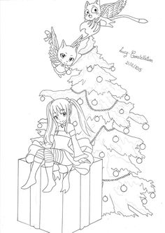 We decorate the Fairy Tail Christmas Tree lineart by Lucy-Constellation