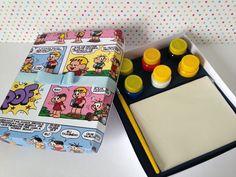 Kit personalizado de colorir com tela de pintura, pincel e tinta guache com 6 cores Guache, Custom Crates, Brush Pen, Canvas Art, Colouring In, Colors, Drawings, Ink