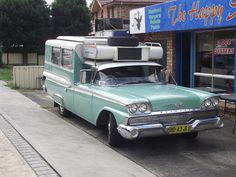 This is a one of a kind build as a Ambulance to now a cozy camper with style, it is a 1959 Ford Tank Fairlane. Taken near Woy Woy, NSW in Retro Trailers, Vintage Travel Trailers, Camper Trailers, Tiny Trailers, Dodge Trucks, Truck Camper, Camper Van, Vintage Caravans, Vintage Campers