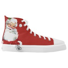 Jolly Winking Santa Claus, Vintage Christmas Printed Shoes, Men's, Size: US Men 8 / US Women Floral White / Fire Brick / Peach Puff tattoos shoulder tattoos meaning tattoos leg tattoos band Vintage Santa Claus, Vintage Santas, Vintage Christmas, Christmas Shoes, Santa Christmas, Christmas Decor, Santa Outfit, Painted Shoes, Custom Sneakers