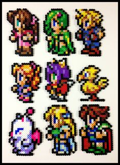 This is Final Fantasy characters made using Perler Beads #PerlerBeads