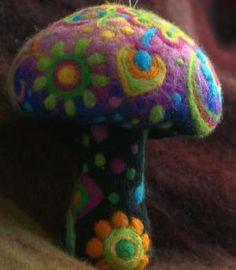 Hippie needle felted summer flower mushroom by Petradi on Etsy by natalia