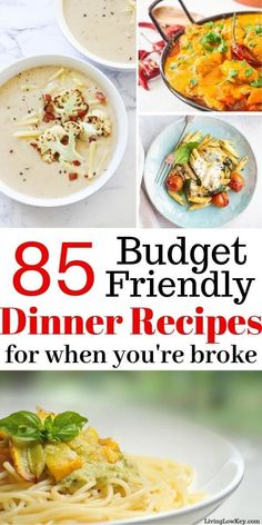Here are 85 cheap meals on a budget! I love these budget-friendly meals. If you'… Here are 85 cheap meals on a budget! I love these budget-friendly meals. If you're looking to feed your entire family on a budget for… Continue Reading → Budget Freezer Meals, Cooking On A Budget, Frugal Meals, Quick Meals, Kid Meals, Food On A Budget, Cheap Meals On A Budget Families, Budget Dinners, Frugal Recipes