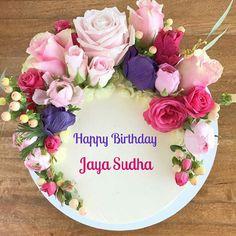 Happy Birthday Floral Cake Name Round Cakes Napkins Tableware
