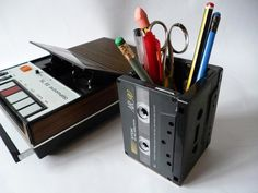 Upcycle Cassette Tapes Pencil Holder