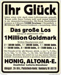 Original-Werbung/ Anzeige 1924 - 1 MILLION GOLDMARK / HÖNIG - ALTONA - ca. 90 x 110 mm