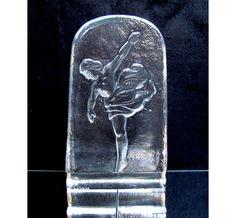 Vintage Glass ballerina ballet dancer sculpture Paperweight bookend, art glass…