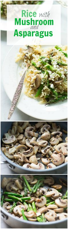 Rice with Mushroom and Asparagus - This rice with mushroom and asparagus recipe makes a perfect summer side dish for you and your family! It's a quick and easy rice recipe that uses veggies, fresh parsley and feta for garnishing. | primaverakitchen.com