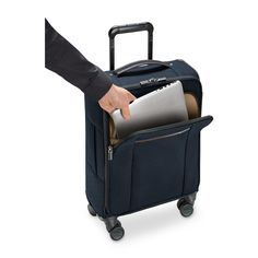 """Briggs and Riley Kinzie International Carry-On includes interior padded laptop sleeve that holds up to 17"""" laptops"""