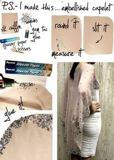 DIY fashion  accessories, diy fashion, diy, creative, acessory, clothing, jewellery, recycling, cape, dress, glitter