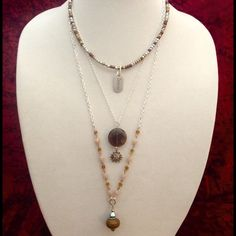 "Boho handmade triple necklace Bohemian 3 strand destiny necklace with faceted smokey Quartz, with Jasper and Czech glass with destiny and sun charm. 18"" 22"" and 28"" with lobster clasp. Sayre  Jewelry Necklaces"