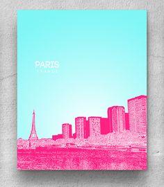Paris France Skyline Poster / Destination Travel Art Poster / Any City or Landmark. $20.00, via Etsy.