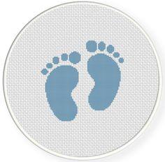 Baby's First Christmas Ornament INSTANT DOWNLOAD Stitch Baby Feet PDF Cross Stitch Pattern Needlecraft