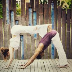 Pin for Later: Partner Yoga Poses For Friends and Lovers Double Down Dog