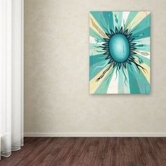 "Ebern Designs 'Blue Flower' Graphic Art Print on Wrapped Canvas Size: 32"" H x 24"" W x 2"" D"
