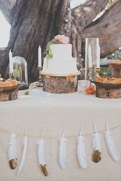 A tree bark cake stand works wonderfully for your boho wedding.